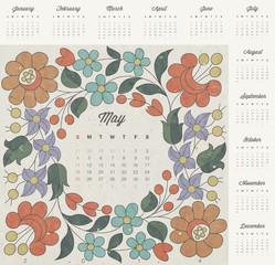 Retro vintage style calendar design.