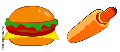 Burger and french hot dog