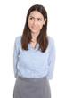 Neugierige junge Business Frau in blauer Bluse freigestellt