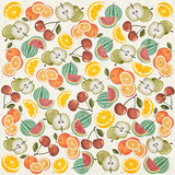 Orange, Melon, Apple, Cherry and Lemon illustrations.