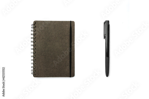 Blank book with pen