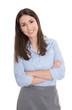 Schöne lachend Business Frau in Rock und Bluse isoliert