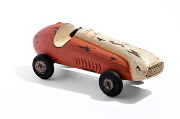 Old vintage wooden racing car