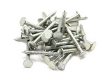 several steel nails on white background