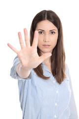 Frau wehrt sich und sagt nein - Zeichen mit der Hand