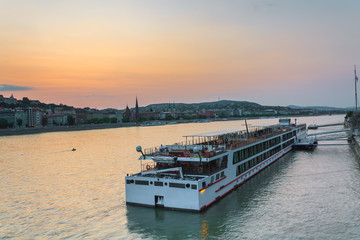 The ship sails on the Danube in Budapest