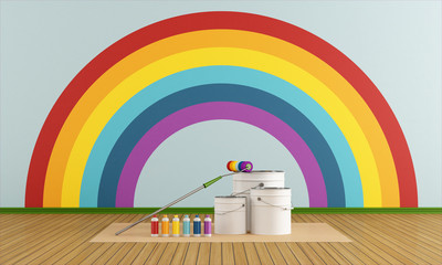 Select color swatch to paint wall with rainbow colors