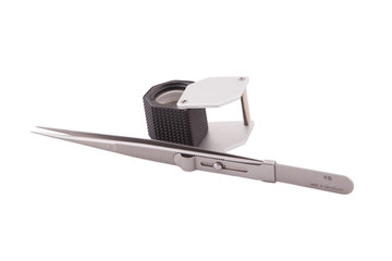 Jeweler magnifier and tweezers