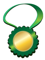 Gold prize on green