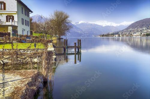Lake early springtime panorama color image