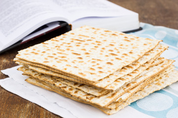 Matzot  for passover celebration on a wooden table