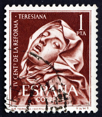Postage stamp Spain 1962 St. Teresa, by Bernini