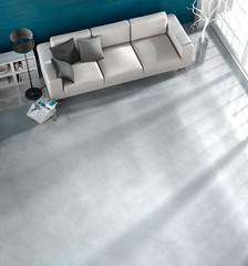 Sofa im Wohnraum in Vogelperspektive 1