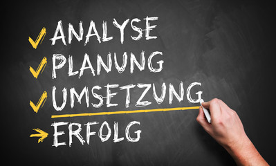 Analyse, Planung, Umsetzung = Erfolg