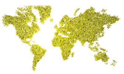 Planisfero, carta geografica stilizzata, triangoli gialli