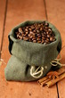 Still life of coffee beans in canvas sack