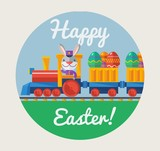 Vector Easter greeting card with rabbit