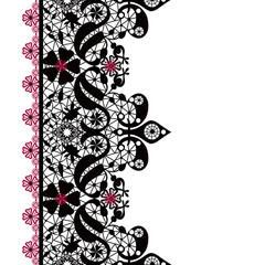 Black seamless lacy lace pattern on white