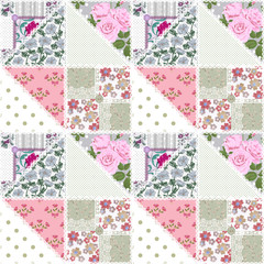 Patchwork seamless floral pattern
