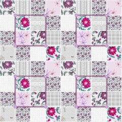 Patchwork seamless floral dotted pattern
