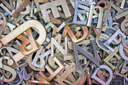 canvas print picture Pile of different iron letters