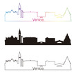 Venice skyline linear style with rainbow