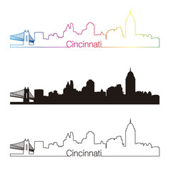 Cincinnati skyline linear style with rainbow
