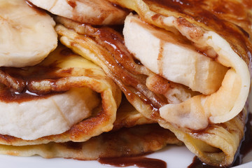 crepes with banana and chocolate closeup horizontal.