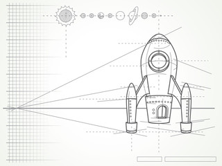 blueprint with spaceship scheme and planets