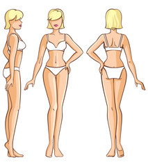 woman body - front, back and side view
