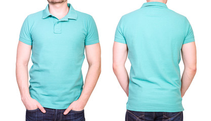 Cyan polo shirt on a young man template