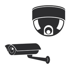 Surveillance security camera icons set