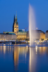 Hamburg Alster Fountain At Night