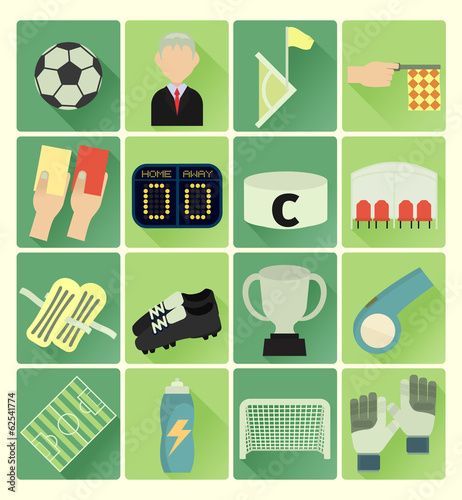 flat icons soccer set