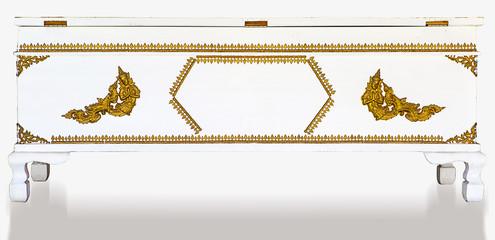 White wooden coffin