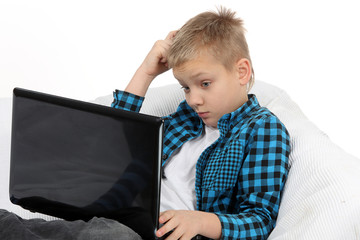 Handsome Teen Boy With Laptop Computer
