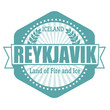 Reykjavik capital of Iceland label or stamp