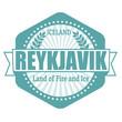 Reykjavik capital of Iceland label or stamp
