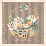 Vintage Easter card with basket and roses. Vector