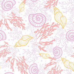 Vector seashells and seaweed seamless pattern background with