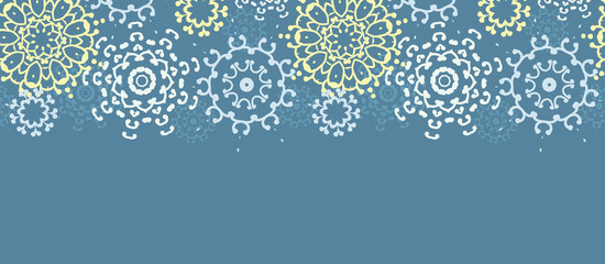 vector yellow gray abstract mandalas horizontal seamless pattern