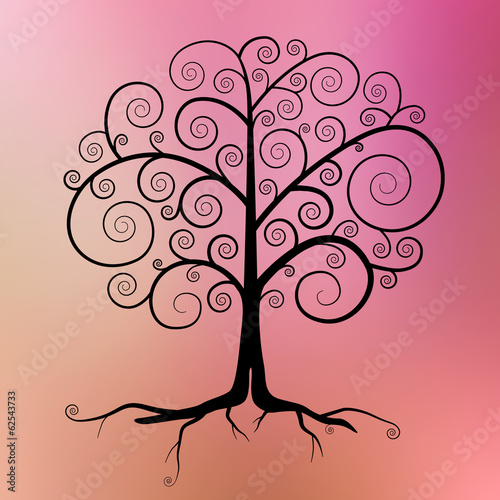 Abstract Vector Black Tree Illustration on Blurred Background