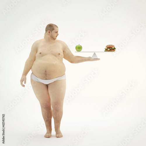 Fat man keep scale with an apple and hamburger