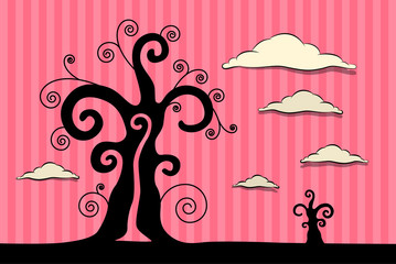 Abstract Vector Black Trees Illustration with Clouds