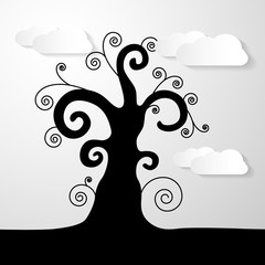Abstract Vector Black Tree Illustration With Paper Clouds