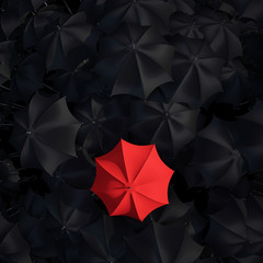 Red umbrella over many dark ones. Be a different concept.