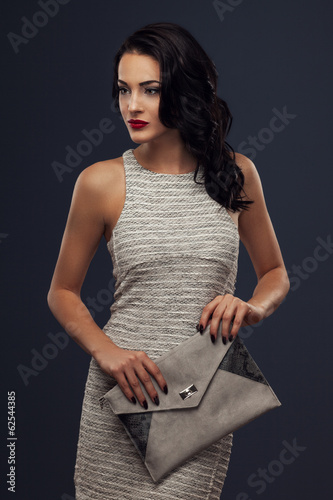 Beautiful woman in a nice dress and handbag