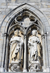Medieval statues on the wall of Ypres Cloth Hall