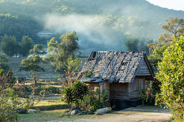 Thai style wooden hut of hill-tribe
