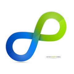 Blue and Green Vector Paper Infinity Symbol